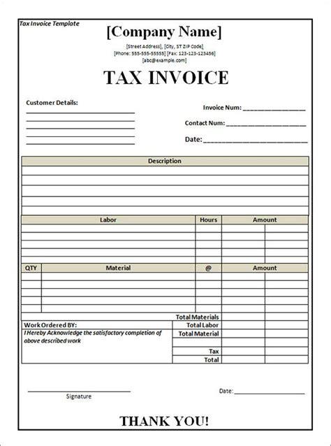 tax invoice template word invoice template word invoice