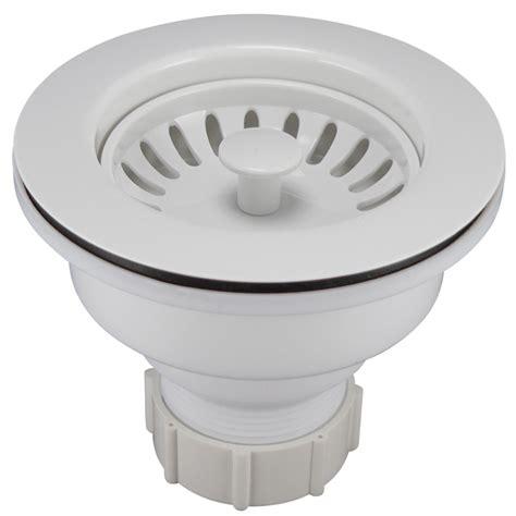 white plastic kitchen sink shop keeney 3 5 in white plastic kitchen sink strainer 1448
