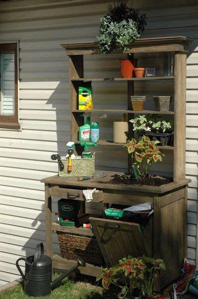 potting bench    idea   bin  soil storage