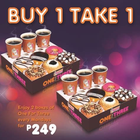 The colorful and round shape donuts make your whenever in your busy schedule and want to get the refresh to drink coffee visit @ dunkin' donuts restaurant where also served sandwiches and donuts. The Daily Talks: Dunkin' Donuts Buy 1 Take 1 Mondays 'til December 31