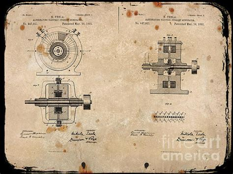 Nikola Tesla's Alternating Generator Patent 1891 By
