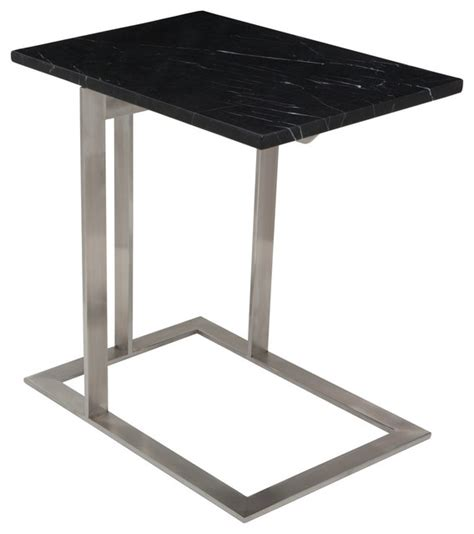 contemporary stainless steel table ls dell stainless steel side table black marble