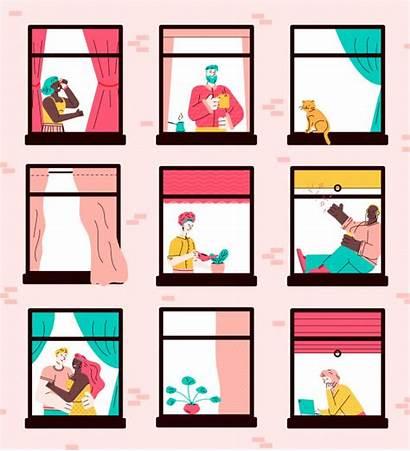 Cartoon Apartment Building Neighbor Window Characters Neighbors
