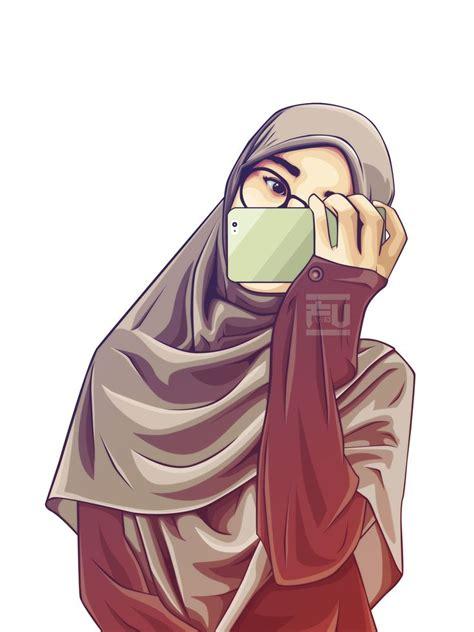 hijab vector atahmadfu gambar animasi kartun