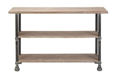 rustic industrial distressed iron wood console table