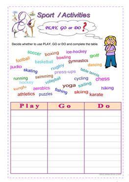 esl sports worksheets