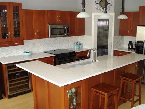 oak kitchen island with granite top gorgeous white quartz countertops a statement in