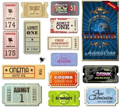 vintage  ticket vector set  vector