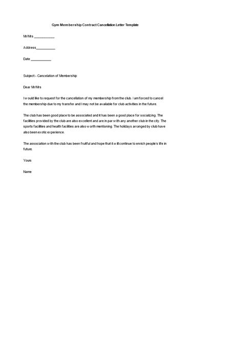 gym membership contract cancellation letter