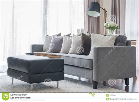 pillows for living room sofa modern grey sofa with pillows and black table in living