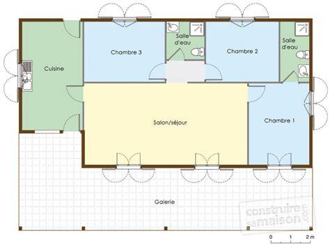 plan maison rdc 3 chambres plan de maison plain pied 3 chambres gratuit cool plan