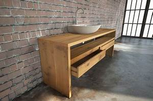 Waschtisch Für Aufsatzwaschbecken Aus Holz : tischfabrik24 waschtischplatte massivholz eiche nach mas ~ Michelbontemps.com Haus und Dekorationen
