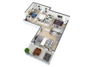 25 more 3 bedroom 3d floor plans architecture design - Small Two Story Cabin Plans