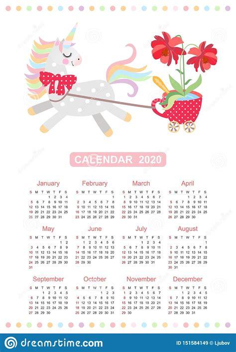 cute unicorn calendar