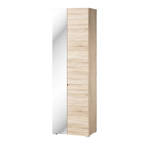 Slim Mirrored Wardrobe by Perth Sonoma Oak Effect Shallow Narrow Slim Mirrored