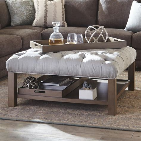 how to decorate an ottoman cocktail ottoman with button tufting and storage trays by