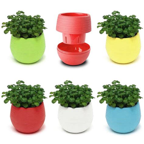 colorful decorative flower pots gloss plastic plant