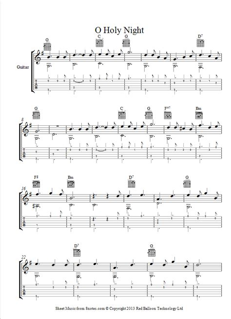 Long lay the world in sin and error pining. O Holy Night sheet music for Guitar - 8notes.com