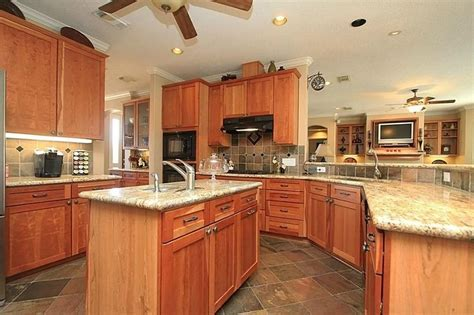 tile floor, honey oak cabinets   Google Search   For the