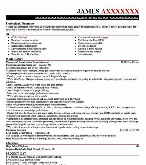 Construction Resumes by Commercial Construction Superintendent Resume Sle