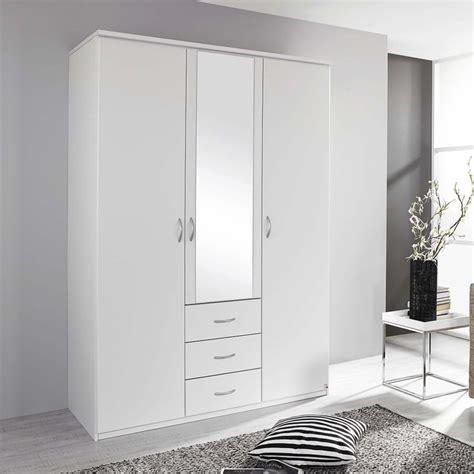 Wide White Wardrobe by Blitz 3 Door 136cm Wide Hinged Wardrobe In Alpine White