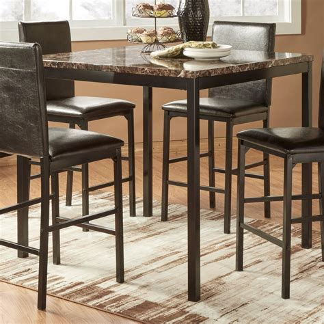 Pub Furniture by Homelegance Tempe Casual Pub Table With Faux Marble Top