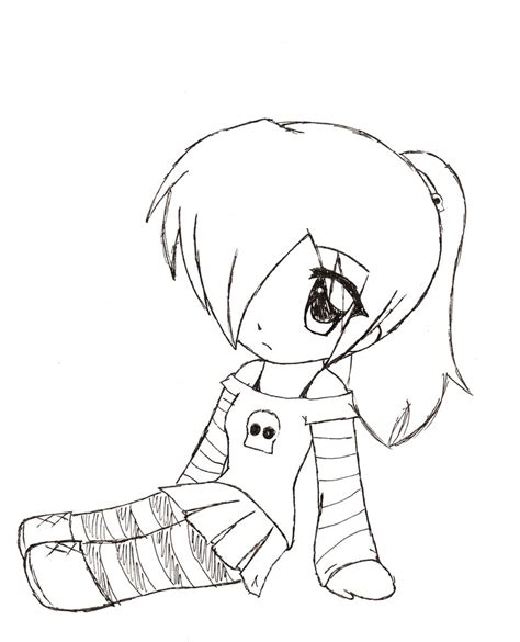 cute chibi girl easy drawings coloring pages pinterest