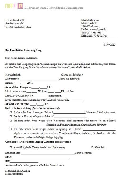beschwerdevorlage ueber bahnverspaetung fappit index und