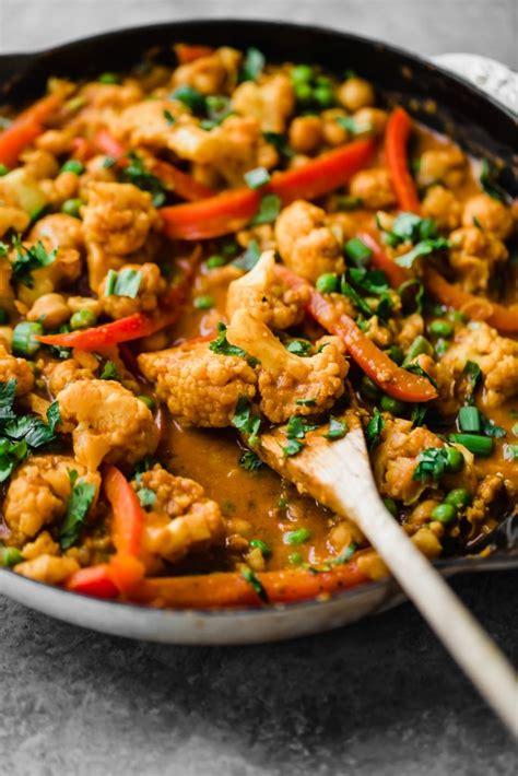 thai peanut coconut cauliflower chickpea curry yummy