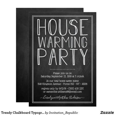 trendy chalkboard typography housewarming party invitation