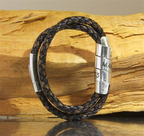 mens leather bracelets designer mens wrap bracelet custom engraved leather wrap cuff
