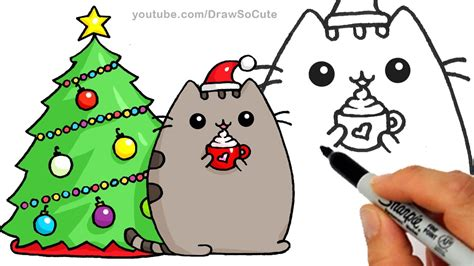 christmas pictures step by step how to draw pusheen cat step by step easy and