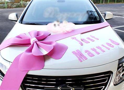 just married decorations for car wedding car decorations kit big ribbons pink bows set just