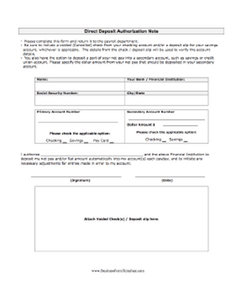 direct deposit form template direct deposit authorization template