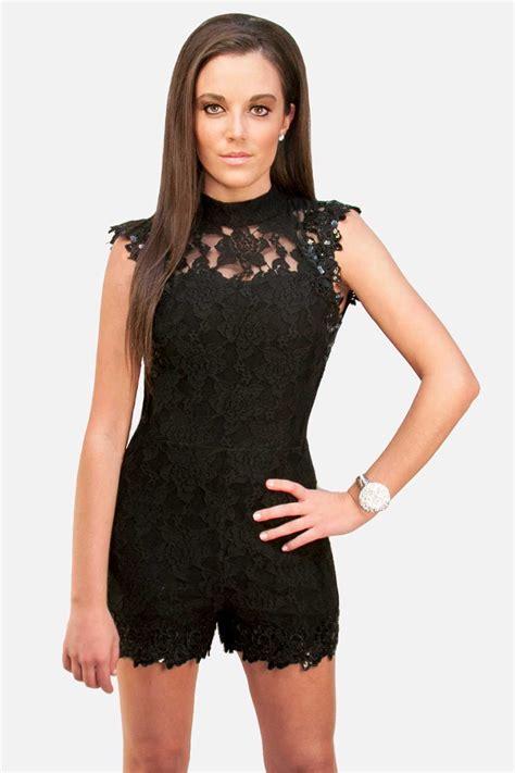 Black Lace Short Romper / jumpsuit | Sky Struk