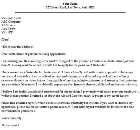 bartender cover letter sle lettercv com