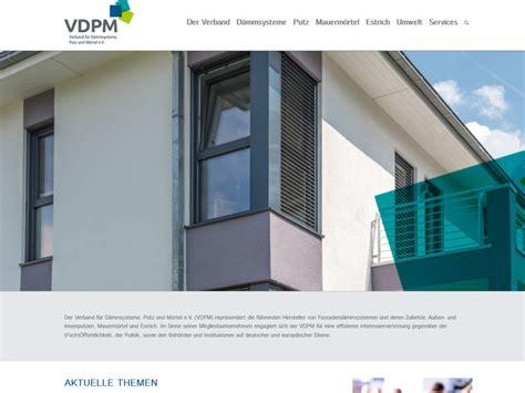 Verband Fuer Daemmsysteme Putz Und Moertel Vdpm by Verband F 252 R D 228 Mmsysteme Putz Und M 246 Rtel D 228 Mmstoffe