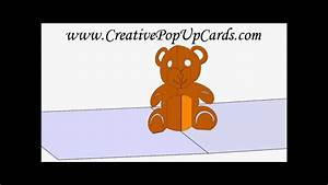 teddy bear pop up card 3d cad model youtube With teddy bear pop up card template free