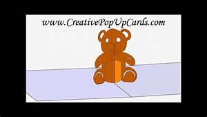 teddy bear pop up card 3d cad model youtube With teddy bear pop up card template free