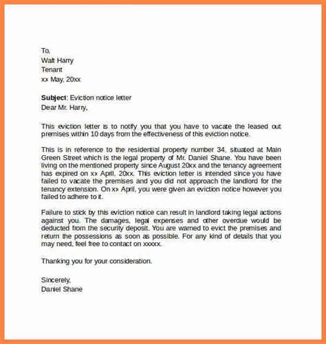 draft eviction notice notice letter