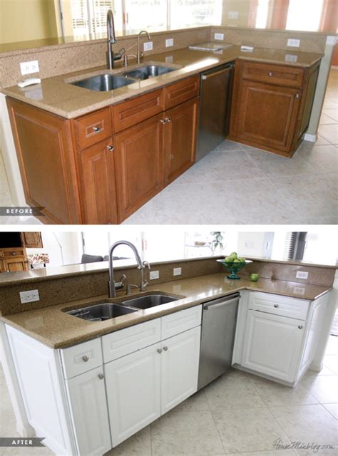 painting kitchen cabinets white before and after pictures how i transformed my kitchen with paint house mix 9878