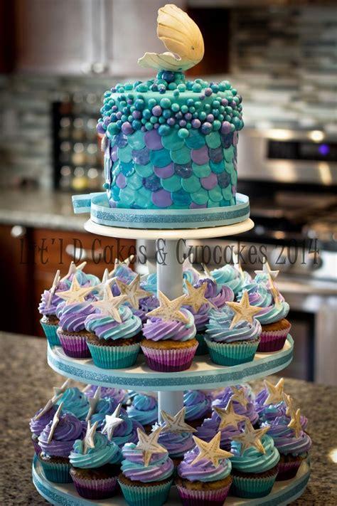 sea cupcake tower mermaid birthday cakes sea