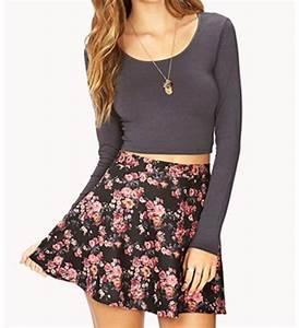 Crop top with high waisted skater skirt   Skater Skirts u0026 Dresses   Pinterest   I love Skater ...