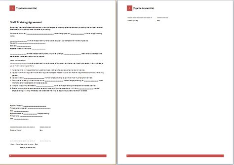 ms word staff training agreement template word document