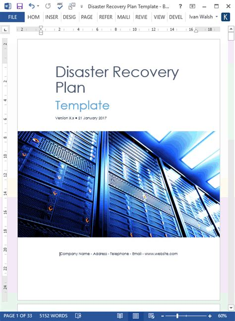 disaster recovery plan template ms word excel