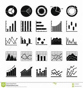 Chart Diagram Icon Set  Simple Style Stock Vector