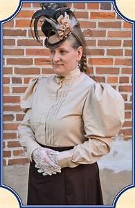Ladies Tan Cotton Victorian Shirtwaist Blouse Heirloom Brand