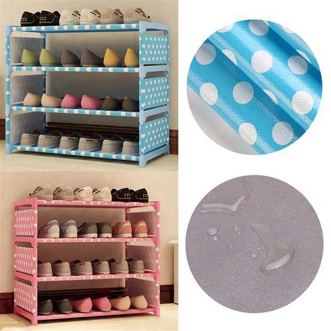 Rak Sepatu 2 Susun rak sepatu 4 susun diy motif polkadot blue