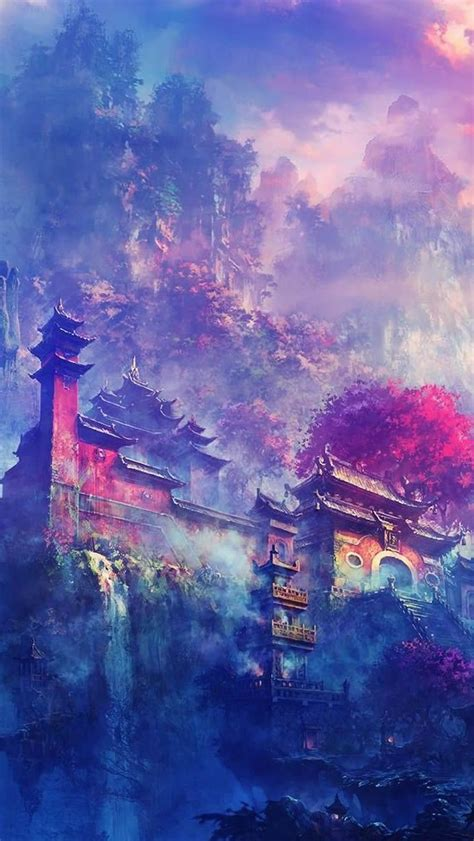 asian village   mountains fantasy iphone