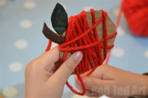 yarn apple craft amp garland ted s 330 | Yarn Wrapped Apple Crafts for kids
